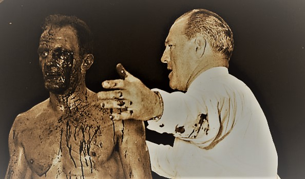 Henry Cooper, cut, bleeding but unbowed